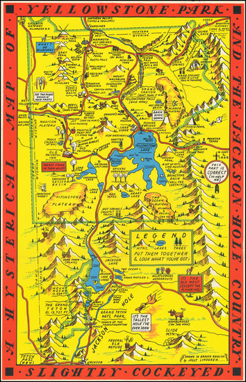 44-Wyoming and Pictorial Maps Map By Lindgren Brothers