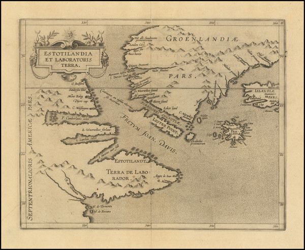 55-Polar Maps, Atlantic Ocean, Iceland and Eastern Canada Map By Cornelis van Wytfliet