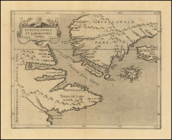 94-Polar Maps, Atlantic Ocean, Iceland and Eastern Canada Map By Cornelis van Wytfliet