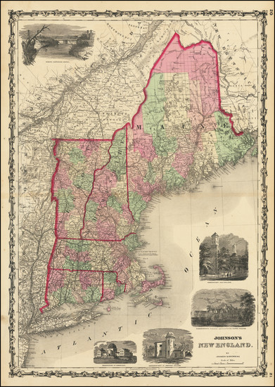 63-New England, Maine, Massachusetts, New Hampshire, Rhode Island and Vermont Map By Alvin Jewett