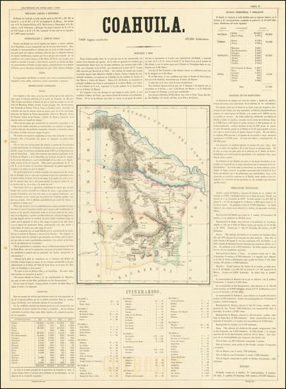 25-Texas and Mexico Map By Antonio Garcia y Cubas