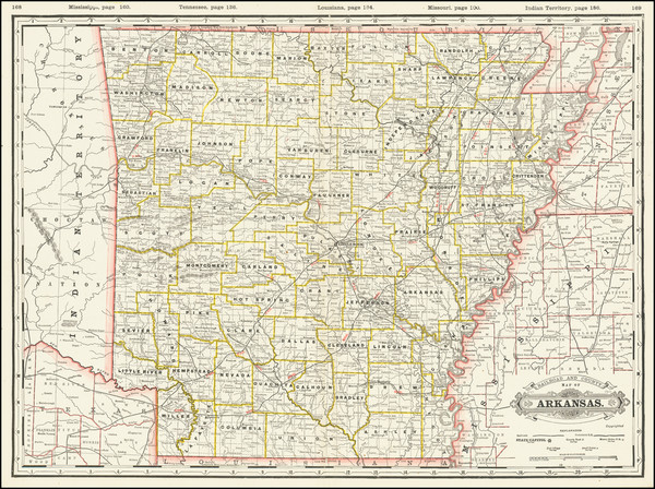 97-Arkansas Map By George F. Cram