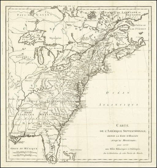 51-United States and American Revolution Map By Michel Rene Hilliard d'Auberteuil