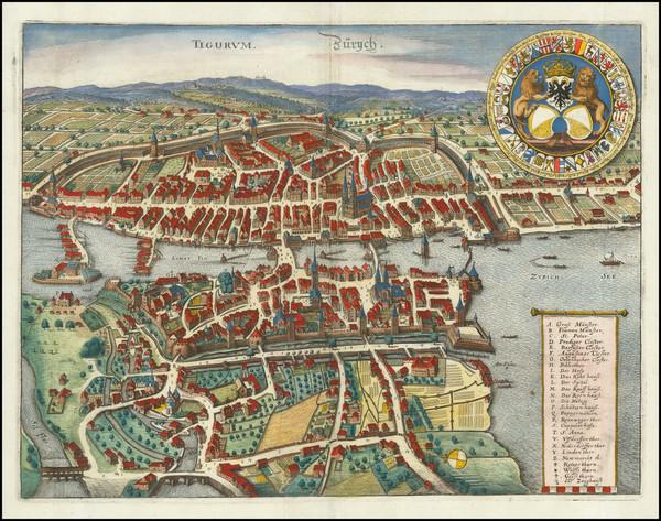 22-Switzerland Map By Matthaus Merian