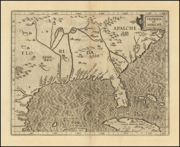 10-Florida, Southeast, Texas and Caribbean Map By Cornelis van Wytfliet