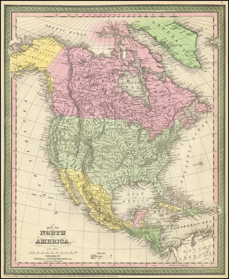 5-North America Map By Thomas, Cowperthwait & Co.