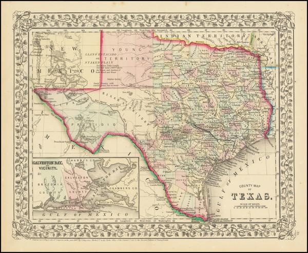82-Texas Map By Samuel Augustus Mitchell Jr.