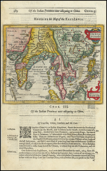 36-Southeast Asia, Philippines, Indonesia and Thailand, Cambodia, Vietnam Map By Jodocus Hondius /