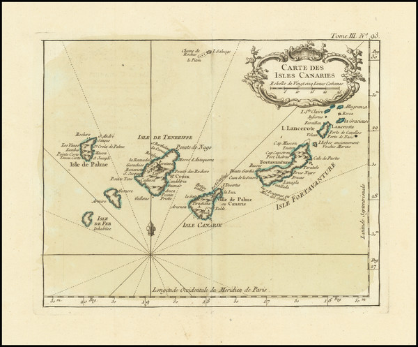 49-African Islands, including Madagascar Map By Jacques Nicolas Bellin