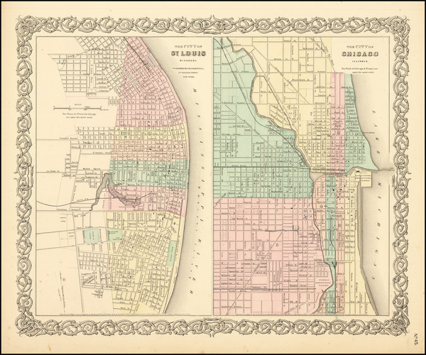 73-Missouri and Chicago Map By Joseph Hutchins Colton