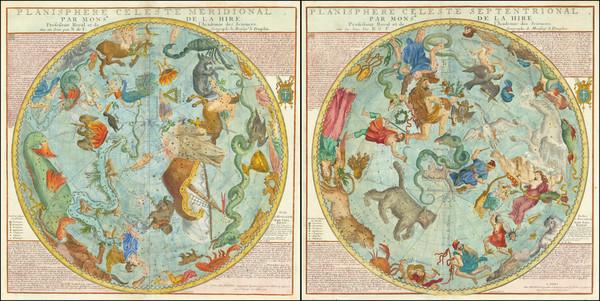 55-Celestial Maps Map By Nicolas de Fer / Louis Charles Desnos