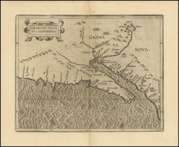 80-Southwest, Baja California and California Map By Cornelis van Wytfliet