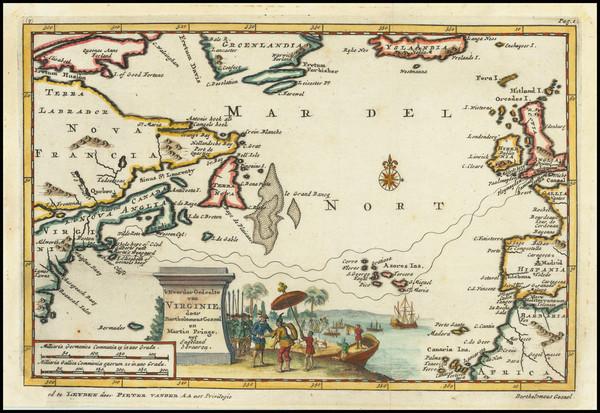 60-Atlantic Ocean, New England and Mid-Atlantic Map By Pieter van der Aa