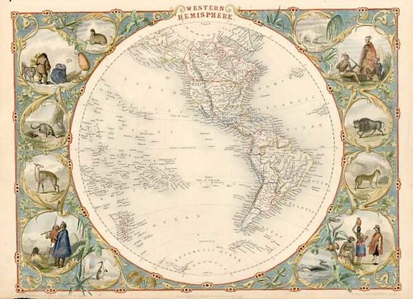 73-World, World, Western Hemisphere, South America and America Map By John Tallis