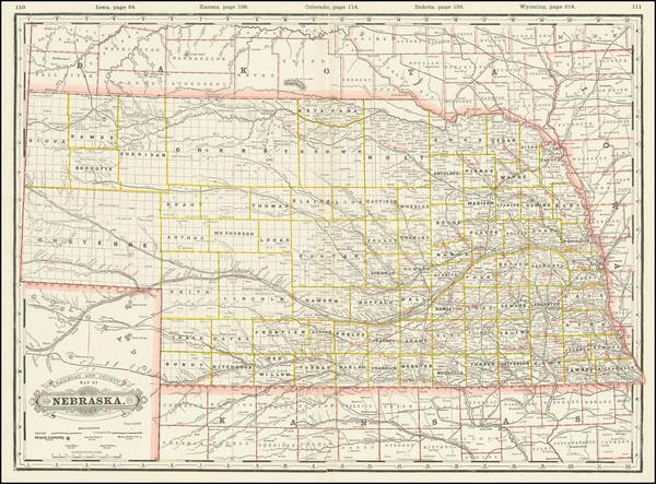 35-Nebraska Map By George F. Cram