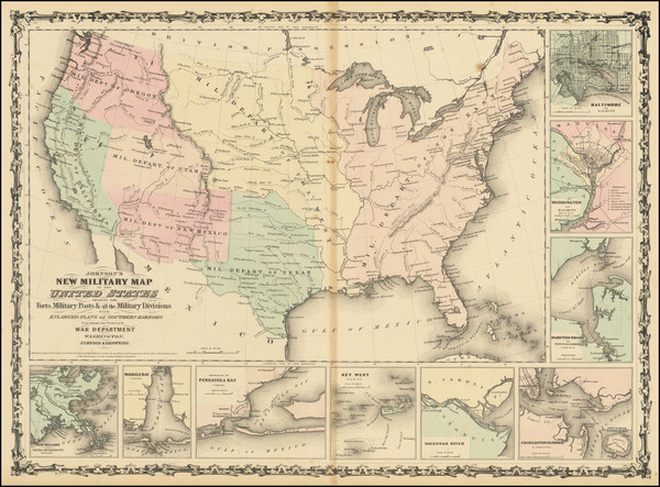 26-United States and Civil War Map By Alvin Jewett Johnson  &  Ross C. Browning