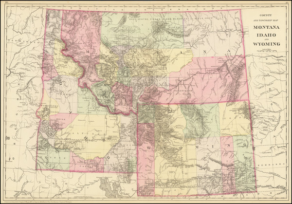 35-Rocky Mountains, Idaho, Montana and Wyoming Map By Samuel Augustus Mitchell Jr.