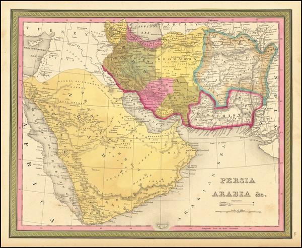 56-Middle East, Arabian Peninsula and Persia Map By Samuel Augustus Mitchell