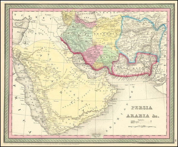 74-Middle East, Arabian Peninsula and Persia Map By Thomas Cowperthwait & Co.