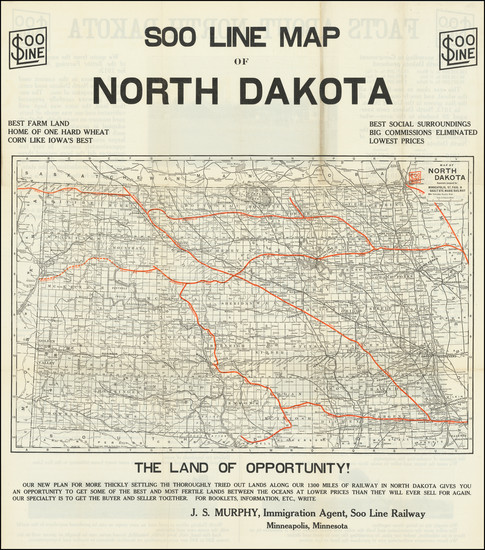 52-North Dakota Map By Soo Line