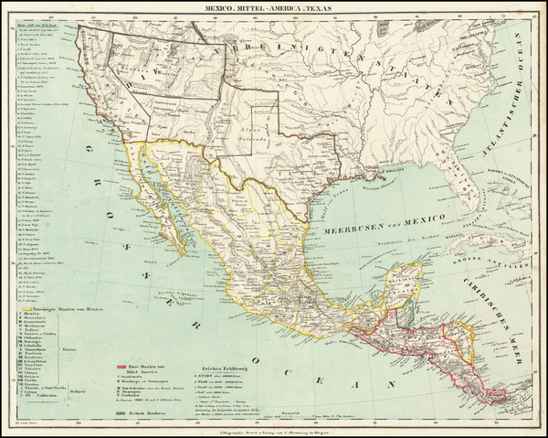 89-Texas, Southwest, Arizona, New Mexico, Rocky Mountains, Mexico and California Map By Carl Flemm