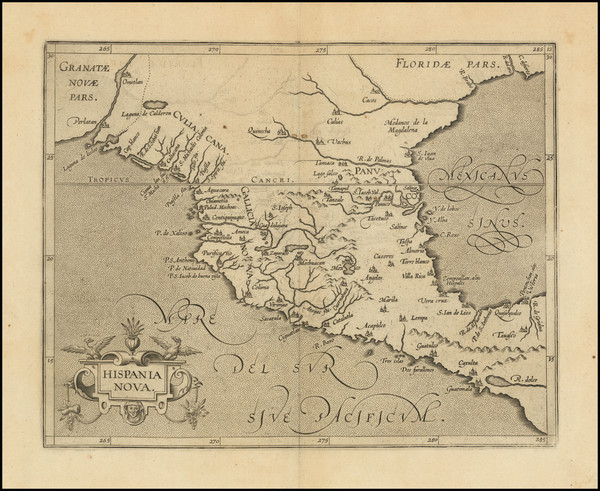 8-Texas and Mexico Map By Cornelis van Wytfliet