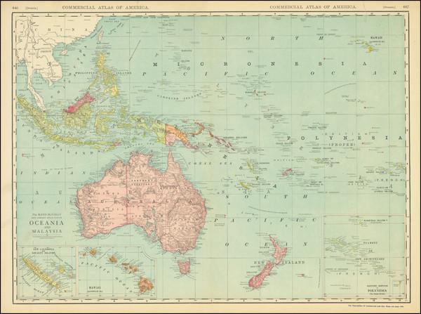 61-Australia & Oceania and Oceania Map By Rand McNally & Company