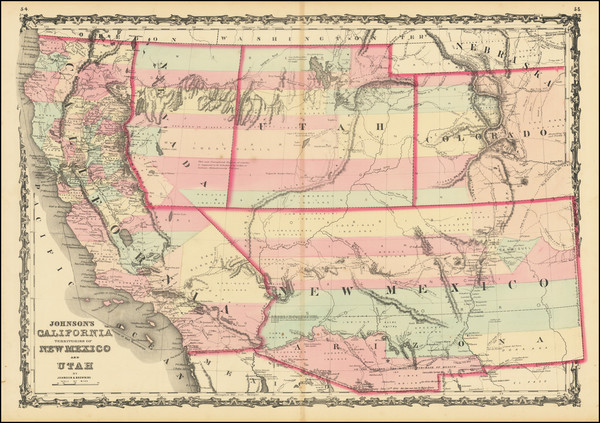 40-Southwest, Arizona, Utah, Nevada, New Mexico, Rocky Mountains, Utah and California Map By Alvin