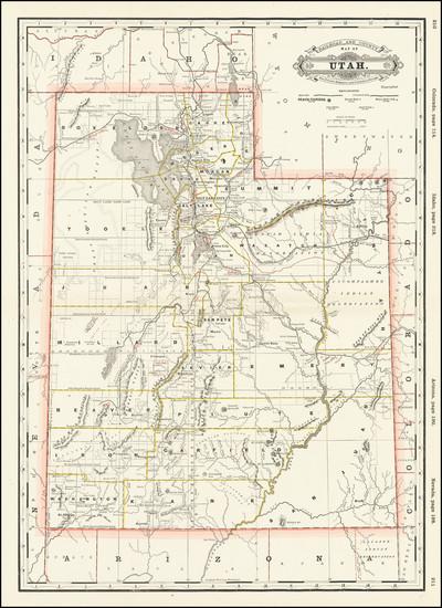 36-Utah and Utah Map By George F. Cram