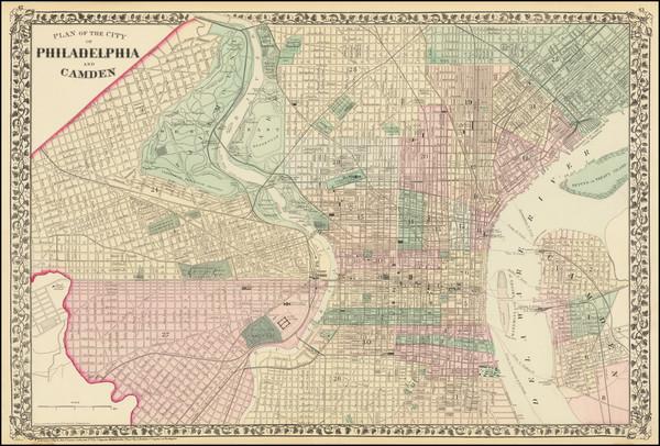 43-Pennsylvania and Philadelphia Map By Samuel Augustus Mitchell Jr.