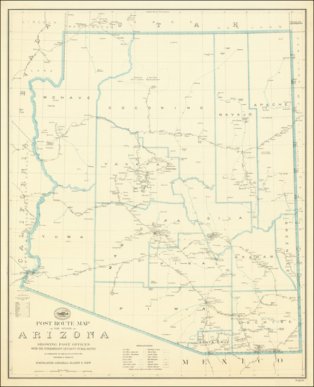 22-Arizona Map By Post Office Department