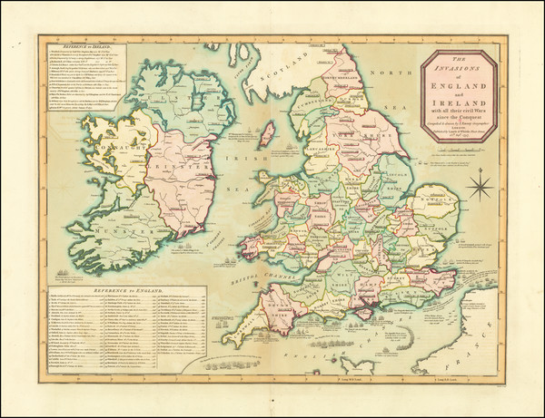 45-British Isles, England and Ireland Map By Laurie & Whittle