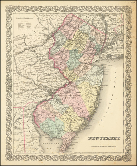 1-New Jersey Map By Joseph Hutchins Colton