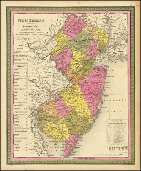 45-New Jersey Map By Samuel Augustus Mitchell