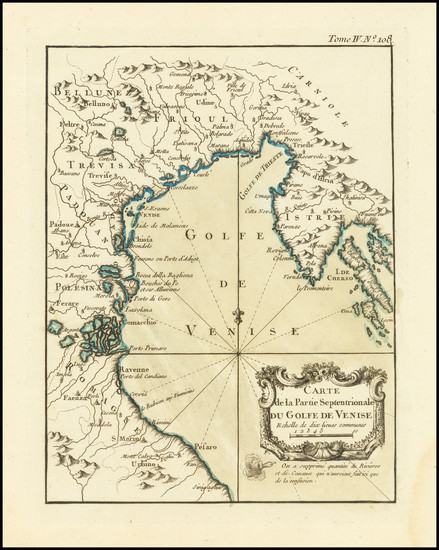 86-Northern Italy Map By Jacques Nicolas Bellin