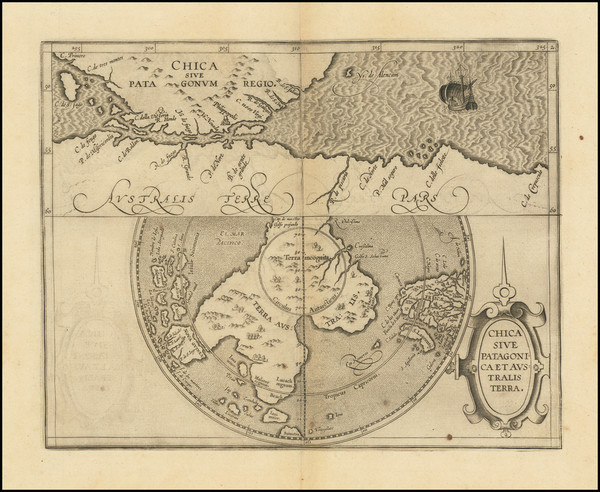 62-Polar Maps, Chile and Australia Map By Cornelis van Wytfliet