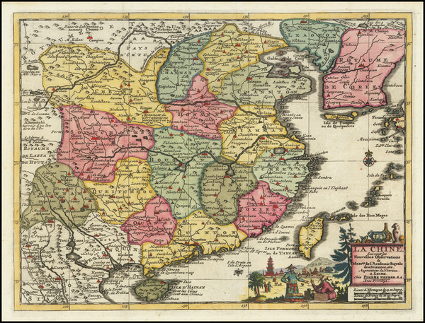 36-China and Korea Map By Pieter van der Aa