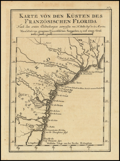 28-Florida, Georgia, North Carolina and South Carolina Map By Jacques Nicolas Bellin