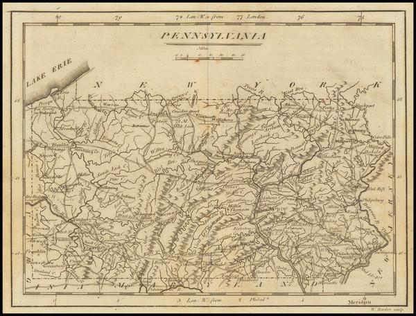 19-Pennsylvania Map By Mathew Carey