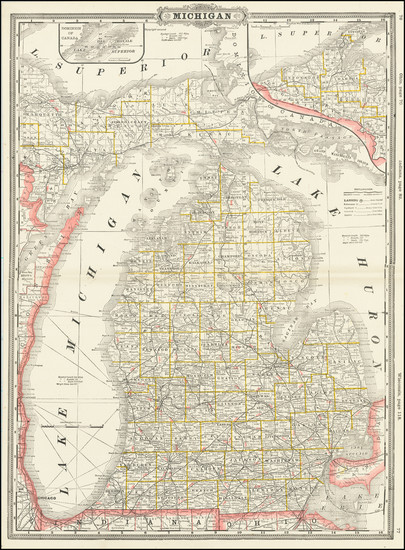 39-Michigan Map By George F. Cram
