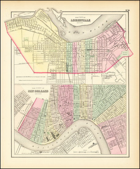 89-Kentucky and New Orleans Map By Joseph Hutchins Colton