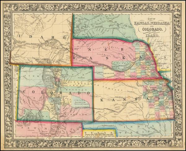 94-Kansas, Nebraska, Colorado, Colorado, Idaho and Wyoming Map By Samuel Augustus Mitchell Jr.