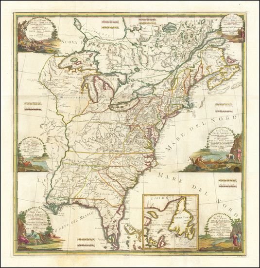 61-United States Map By Giovanni Maria Cassini