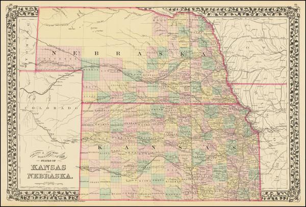 52-Kansas and Nebraska Map By Samuel Augustus Mitchell Jr.