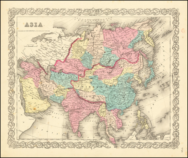 11-Asia and Asia Map By Joseph Hutchins Colton