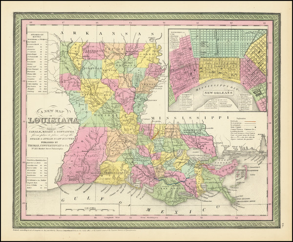 44-South, Louisiana and New Orleans Map By Thomas Cowperthwait & Co.