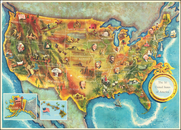 36-United States and Pictorial Maps Map By Lorin Thompson