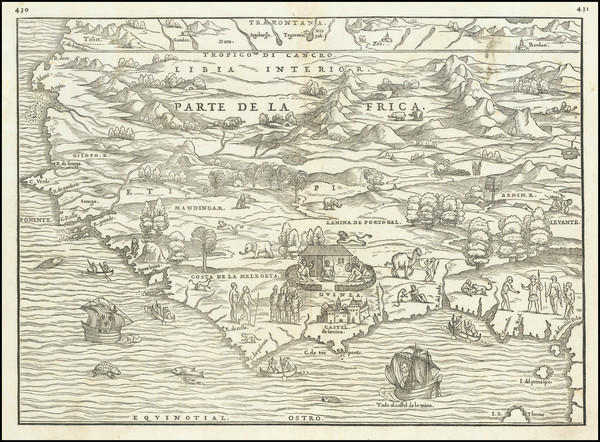 31-North Africa and West Africa Map By Giovanni Battista Ramusio / Giacomo Gastaldi