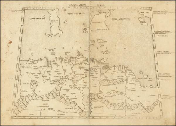 37-Malta, Sicily and North Africa Map By Bernardus Venetus de Vitalibus / Claudius Ptolemy