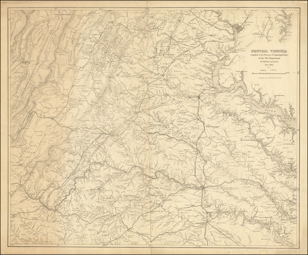 19-Virginia and Civil War Map By United States Bureau of Topographical Engineers